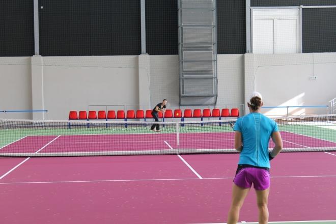 Цвети Пиронкова и Сам Стосър тренират заедно в София (снимки)