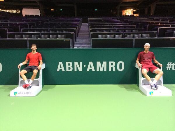 Григор Димитров тренира с Томаш Бердих в Ротердам (снимки)