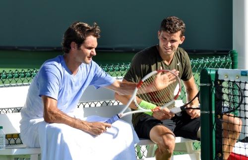 ВИДЕО: Федерер избра да тренира с Григор Димитров