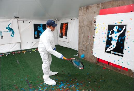 ВИДЕО: Федерер и Надал рисуват с ракети (буквално)