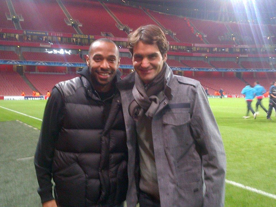 Тиери Анри заведе Федерер на мач на Арсенал